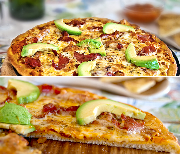 Bacon and avo pizza