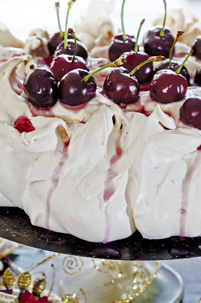 Cherries Closeup-Christmas Pavlova